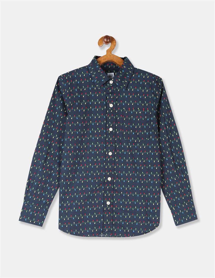 GAP Boys Blue Printed Shirt