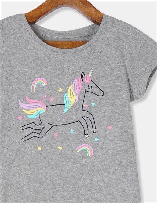 GAP Girls Grey Printed T-Shirt