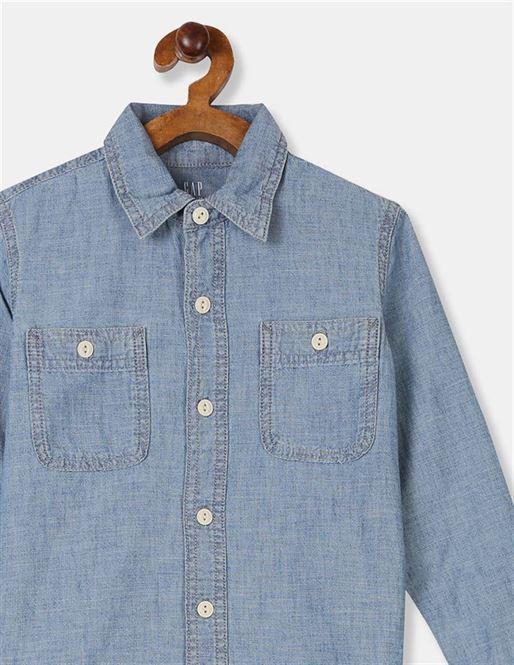 GAP Boys Blue Solid Shirt