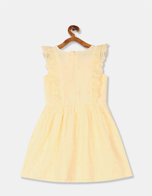 GAP Girls Yellow Embroidered Dress
