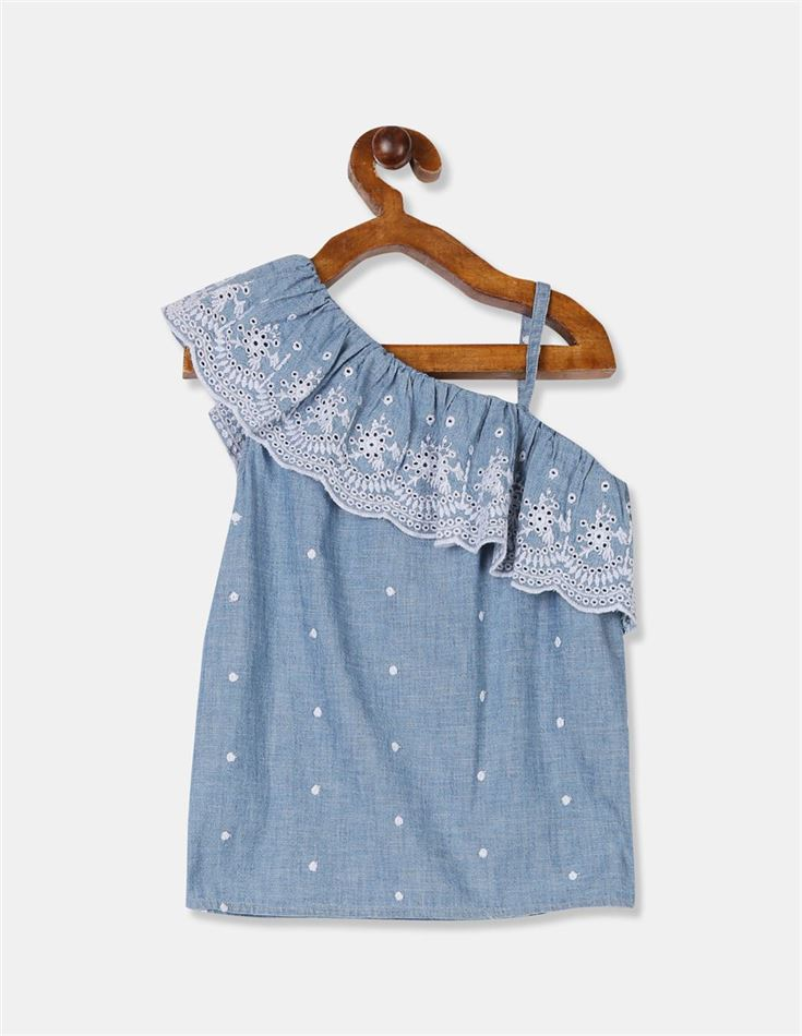GAP Girls Blue Embroidered Top