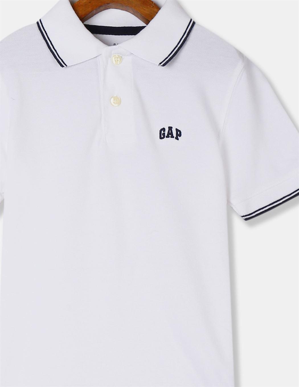 GAP Boys White Solid T-Shirt