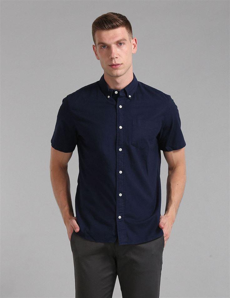 Gap Men Casual Wear Navy Shirt