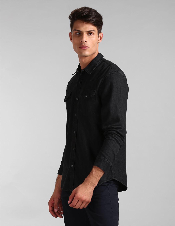 Gap Men Casual Wear Black Shirt