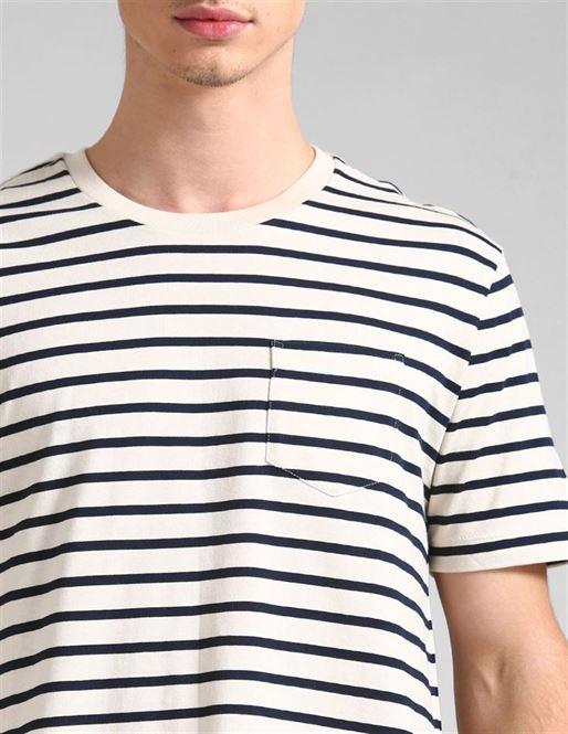 Gap Men Casual Wear Off White T-Shirt