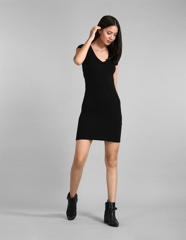 Gap Women Casual Wear Black T-Shirt Dress