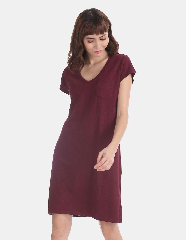 Gap Women Casual Wear Maroon Dress