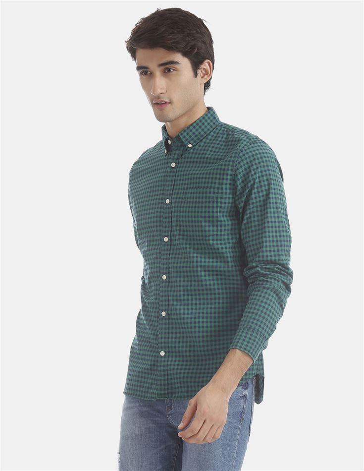 Gap Men Casual Wear Green Shirt