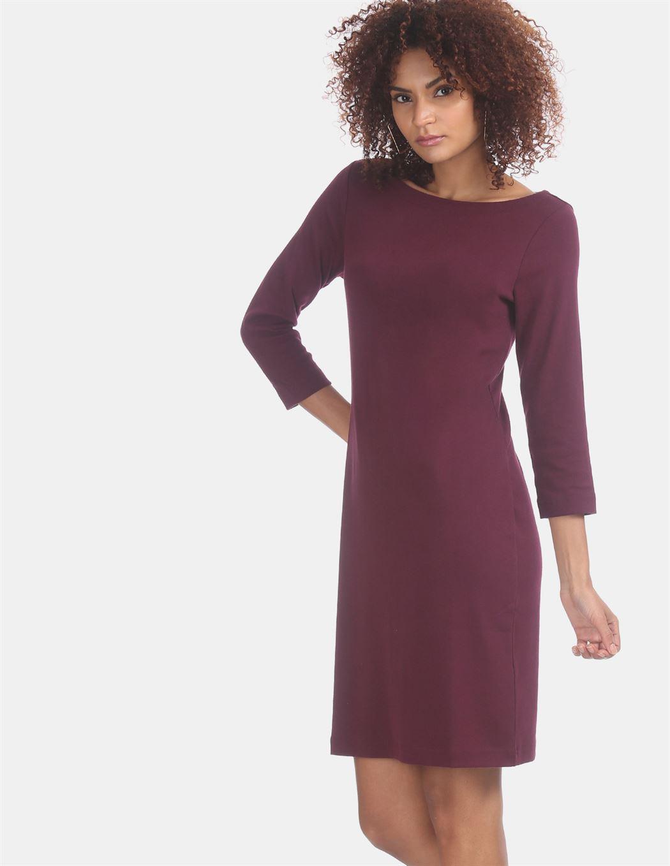 Gap Women Casual Wear Burgundy Shift Dress