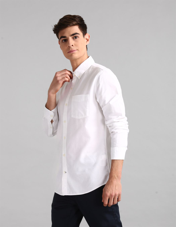 Gap Men Casual Wear White Shirt