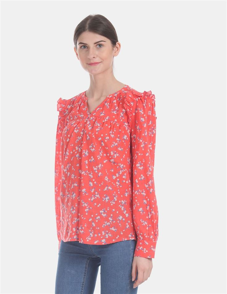 Gap Women Casual Wear Orange Top