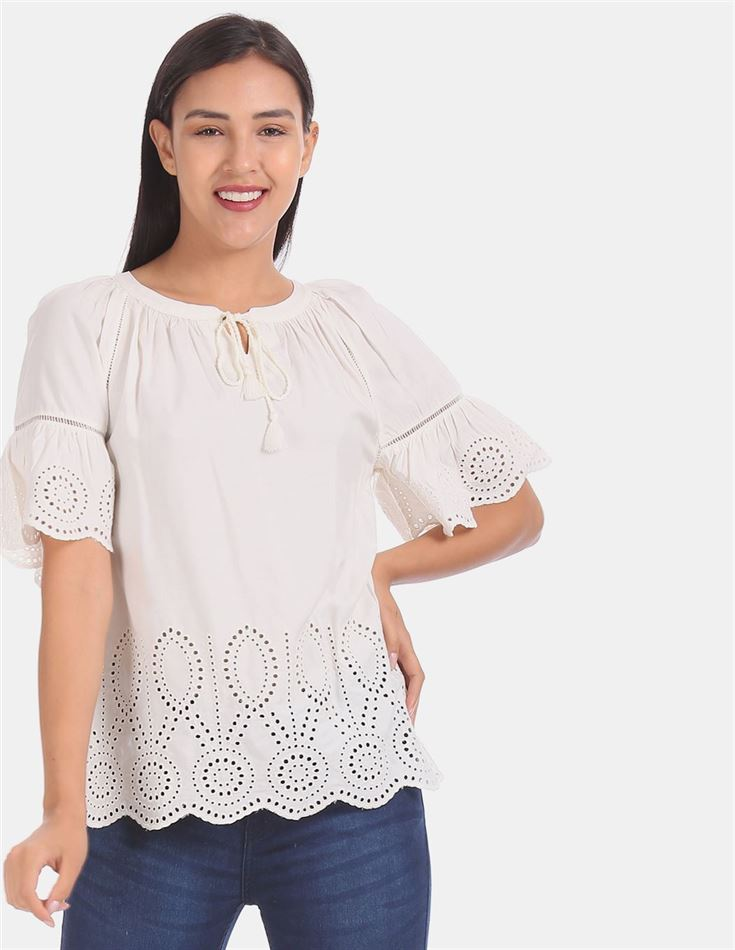 Gap Women Casual Wear Off White Top