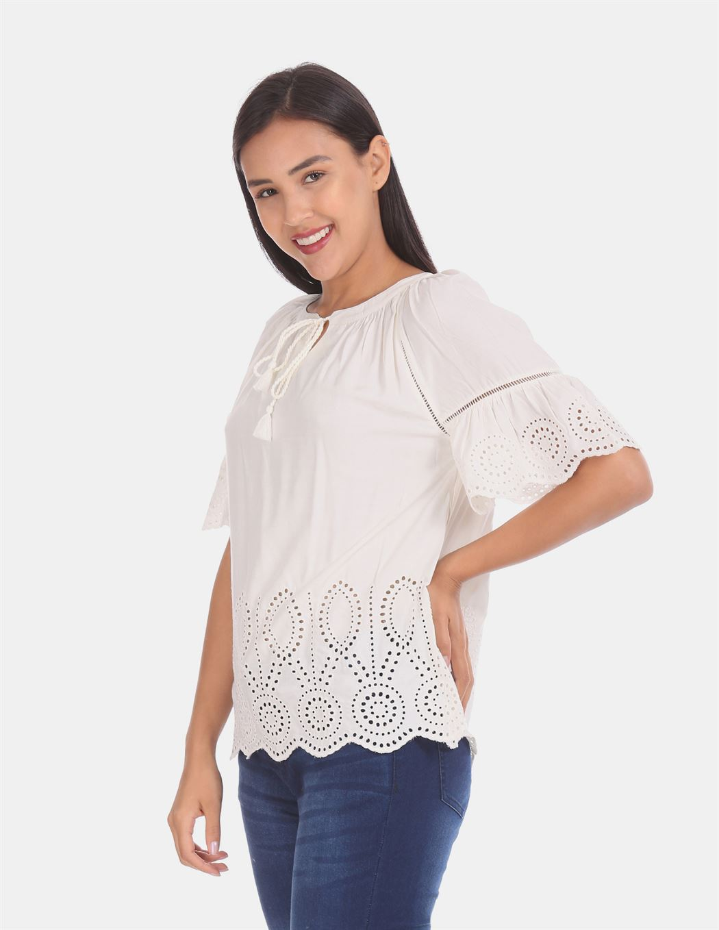 Gap Women Casual Wear Off White Top