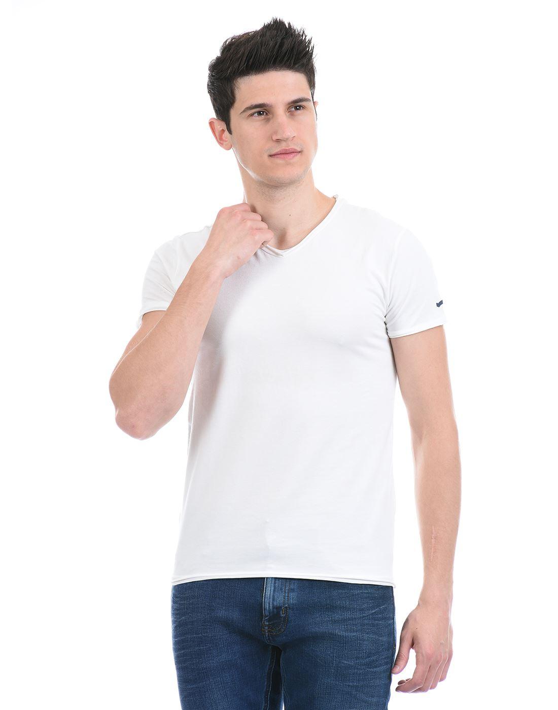 Gas Jeans Men Casual Wear White T-Shirt