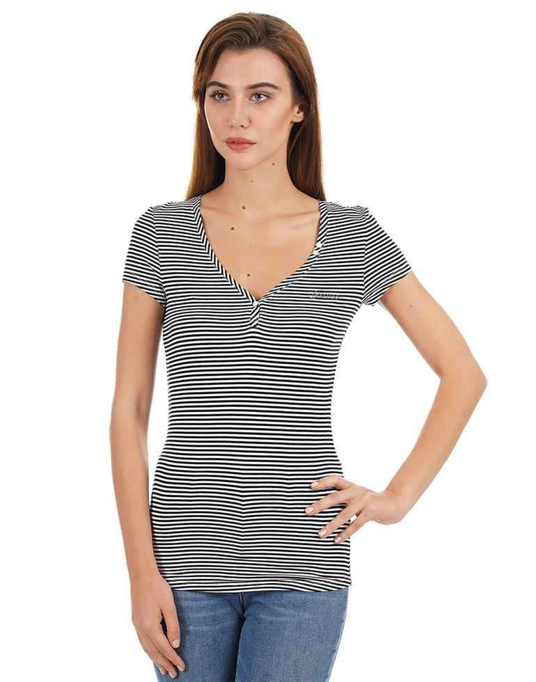 Guess Women Striped Casual Wear T-Shirt