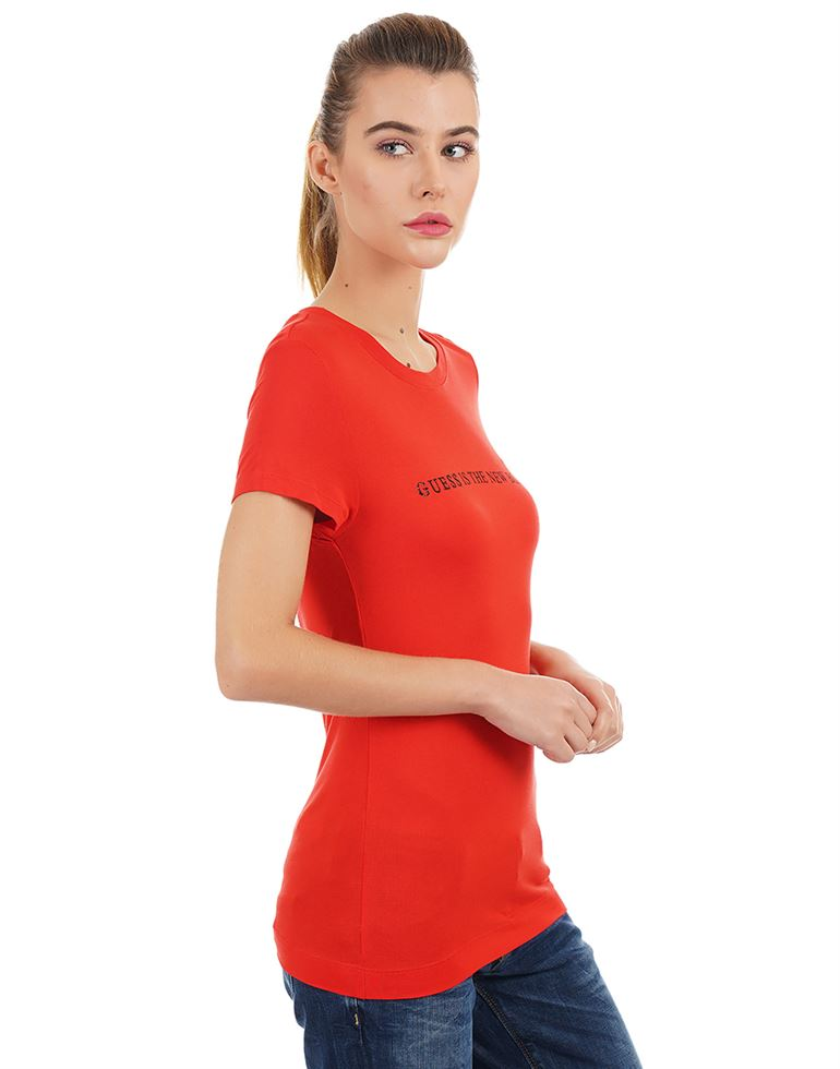 Guess Women Chest Print Casual Wear T-Shirt