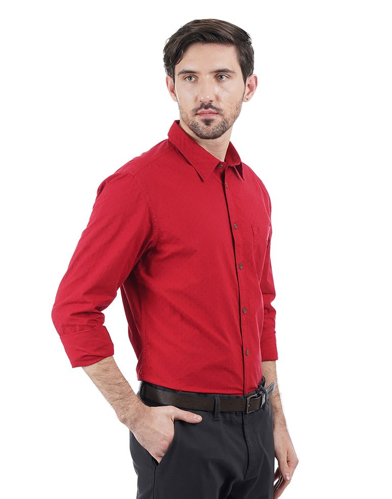 Indian Terrain Men Textured Casual Wear Shirt