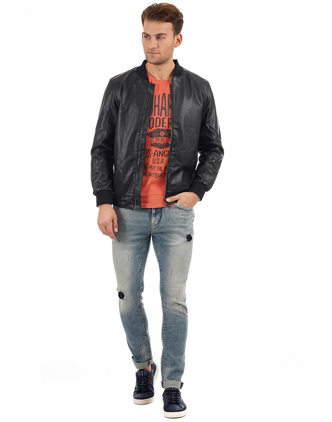 Indian Terrain Men Casual Wear Solid Jacket