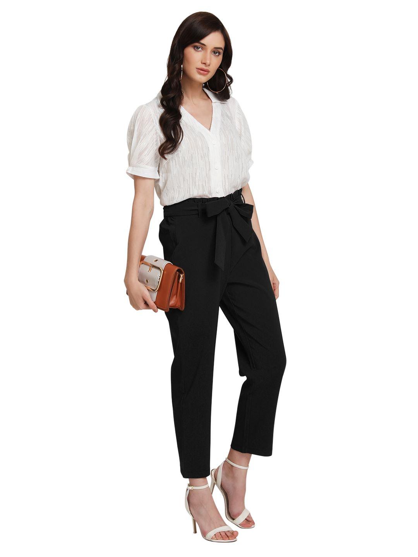 Kazo Women Casual Wear Black Trouser With Belt