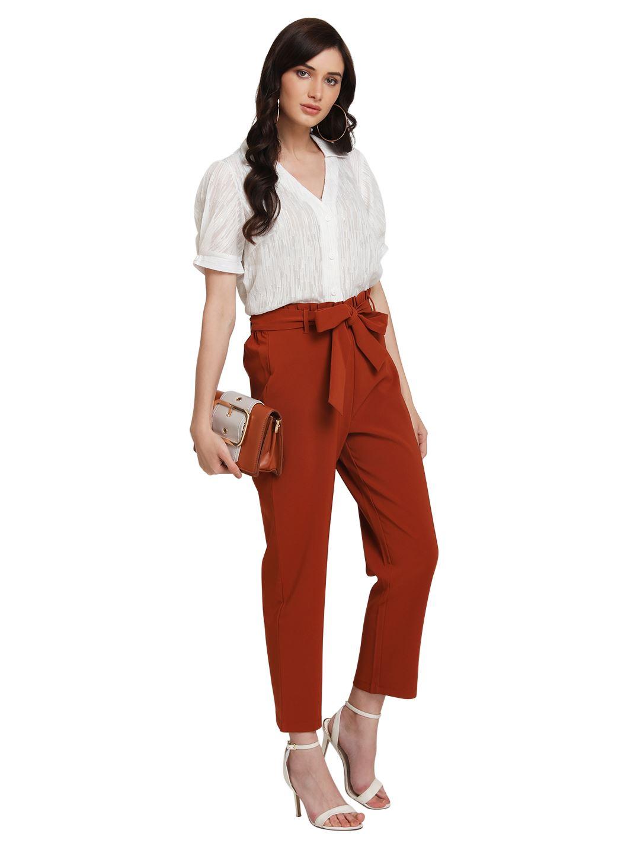Kazo Women Casual Wear Brown Trouser With Belt
