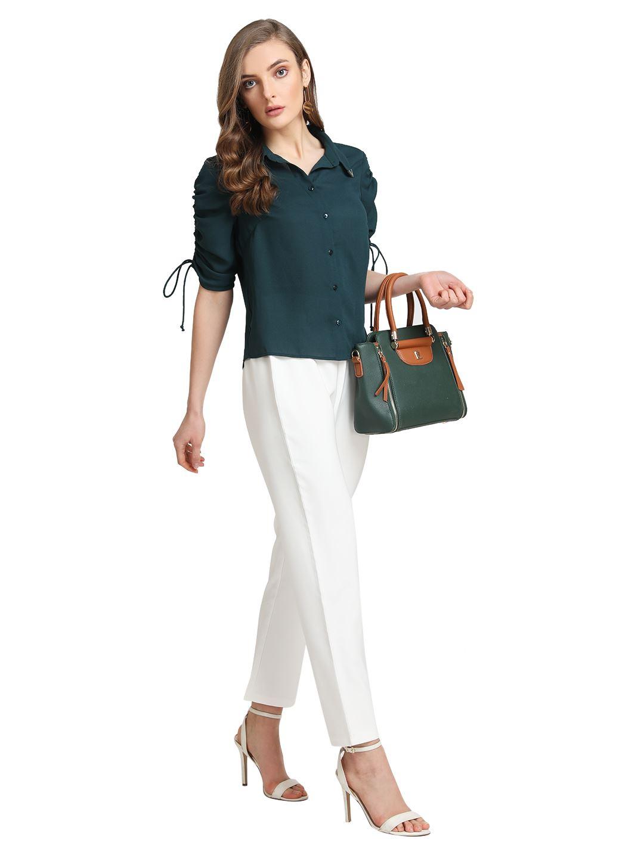 Kazo Women Casual Wear White Trouser With Belt