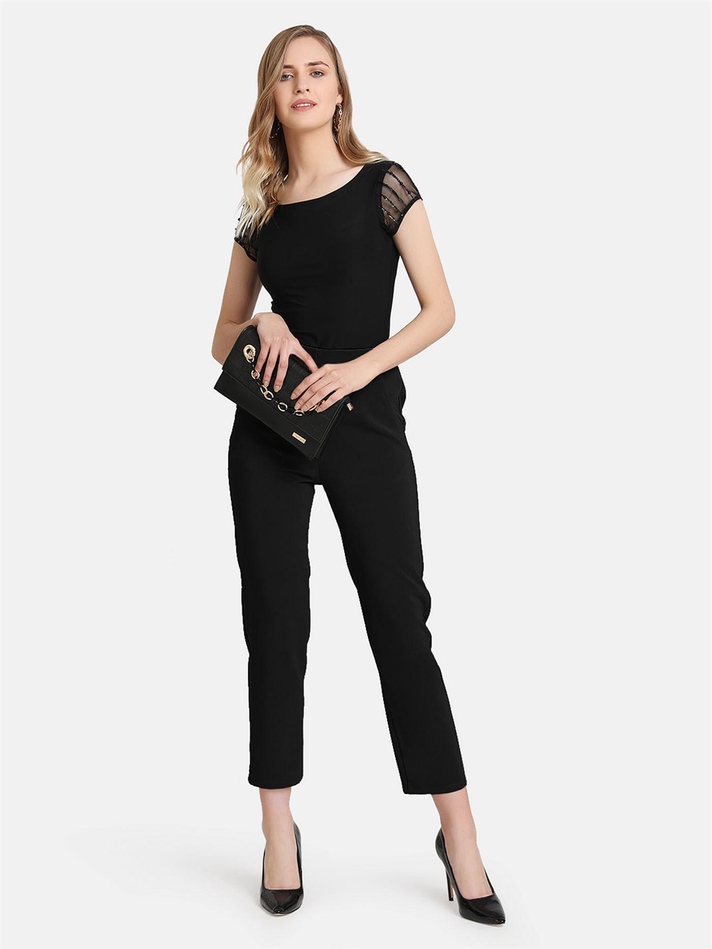 Kazo Women Casual Wear Black Casual Trouser