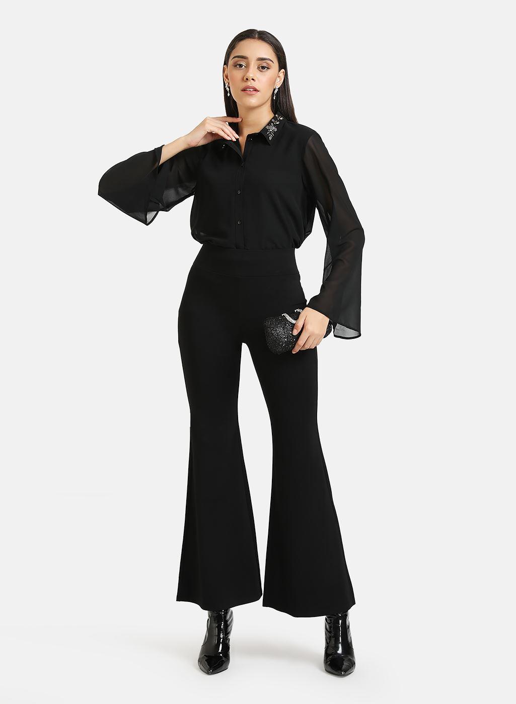 Kazo Women Casual Wear Black Bell Bottoms