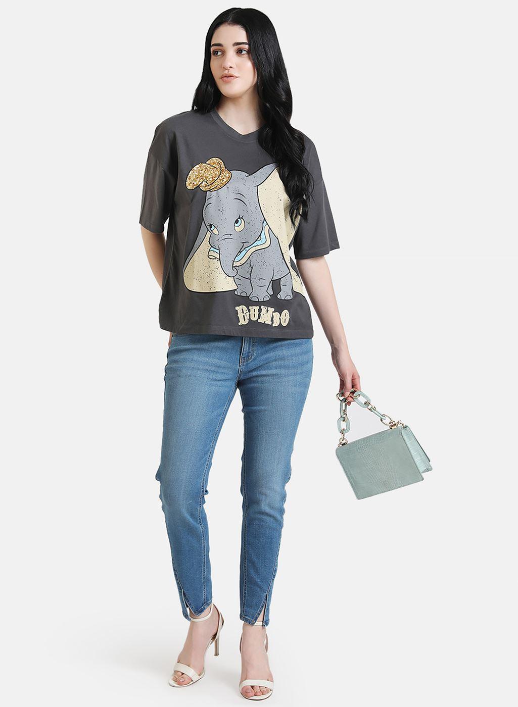 Kazo Women Casual Wear Grey Casual T-shirt