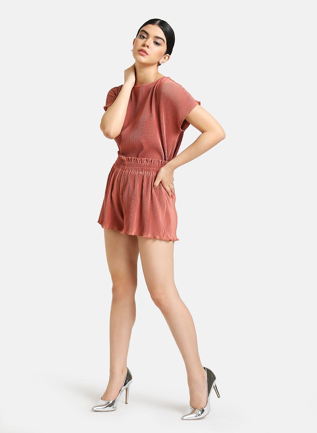 Kazo Women Casual Wear Orange Top & Shorts Set