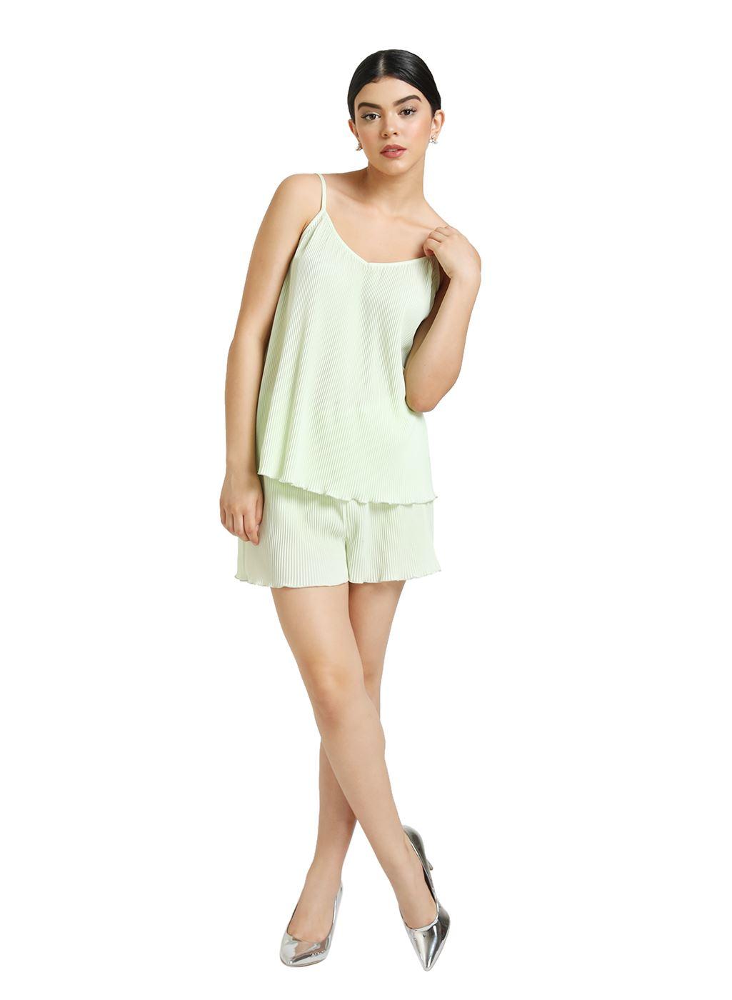 Kazo Women Casual Wear Green Cami & Shorts Set