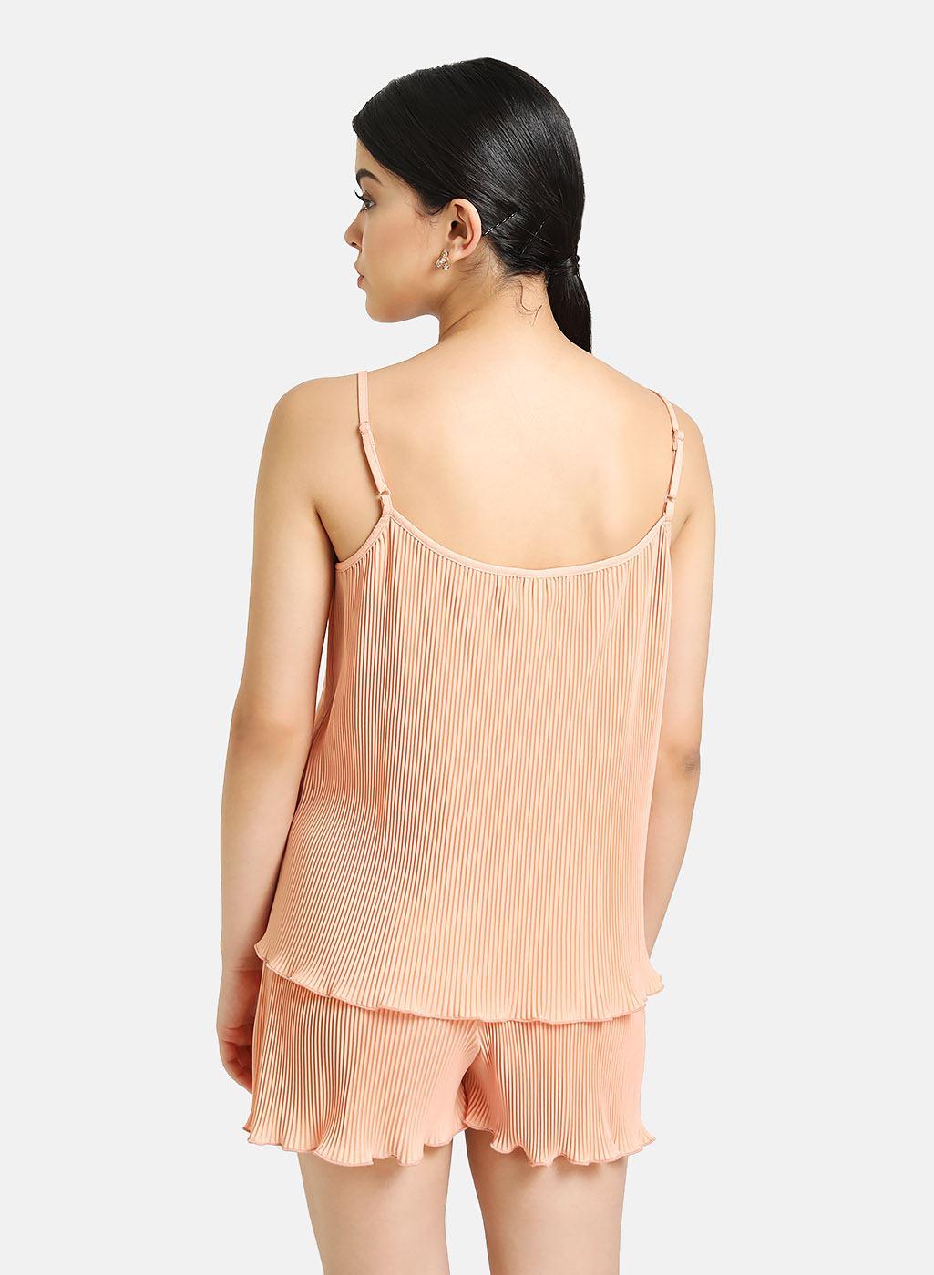 Kazo Women Casual Wear Orange Cami & Shorts Set