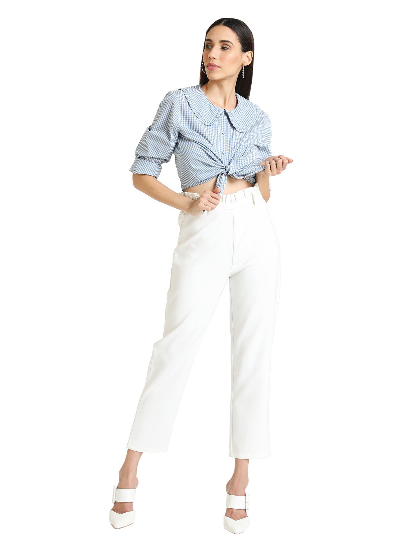 Kazo Women Casual Wear Blue Casual Shirt