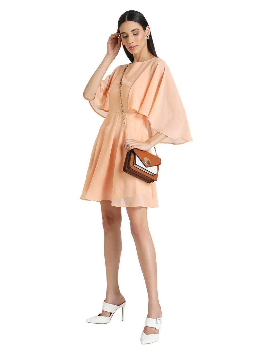 Kazo Women Casual Wear Peach A-line Dress
