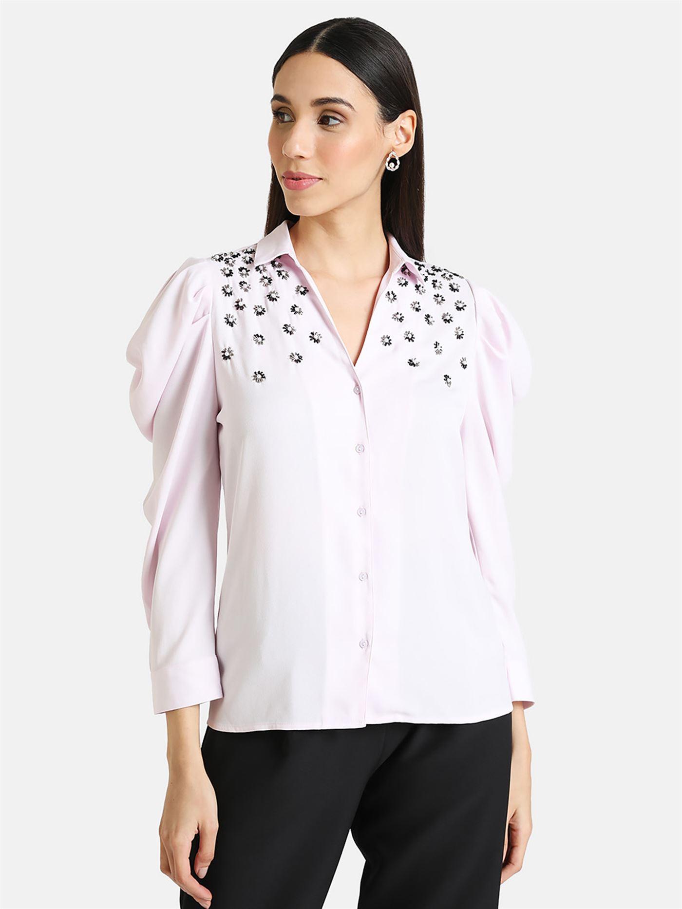 Kazo Women Casual Wear Pink Casual Shirt