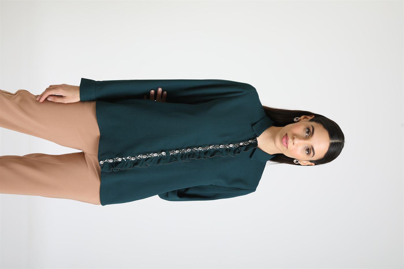 Kazo Women Casual Wear Green Casual Shirt