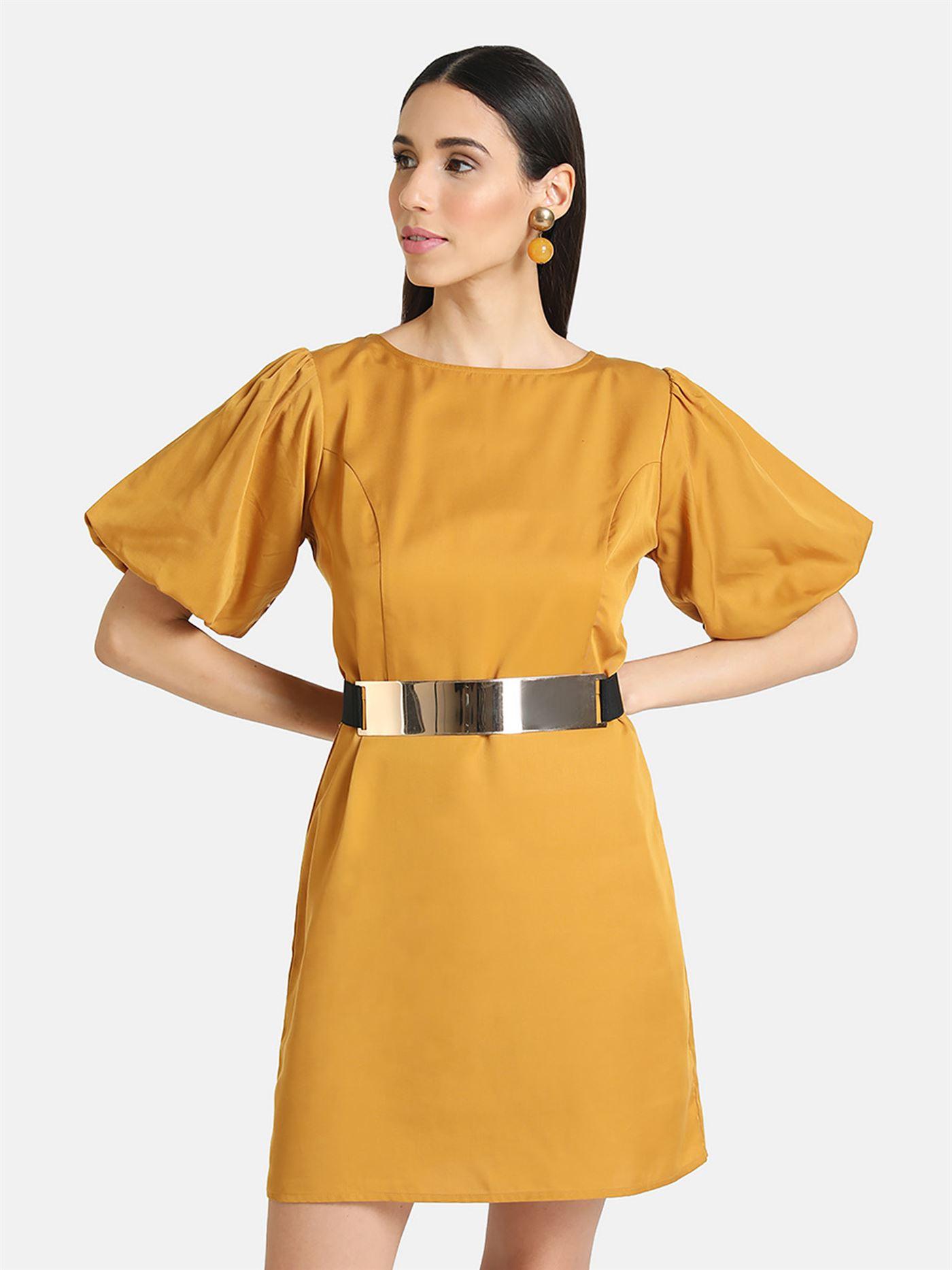 Kazo Women Casual Wear Yellow Shift Dress With Belt