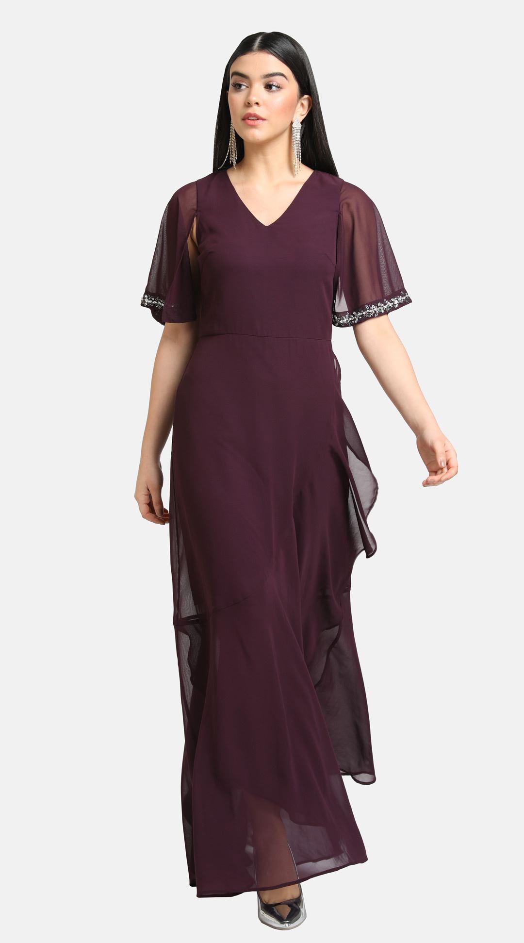 Kazo Women Party Wear Burgundy Fit & Flare Dress