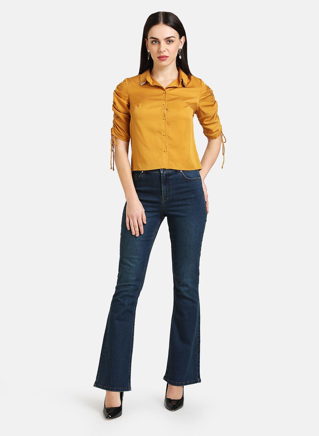 Kazo Women Casual Wear Yellow Casual Shirt