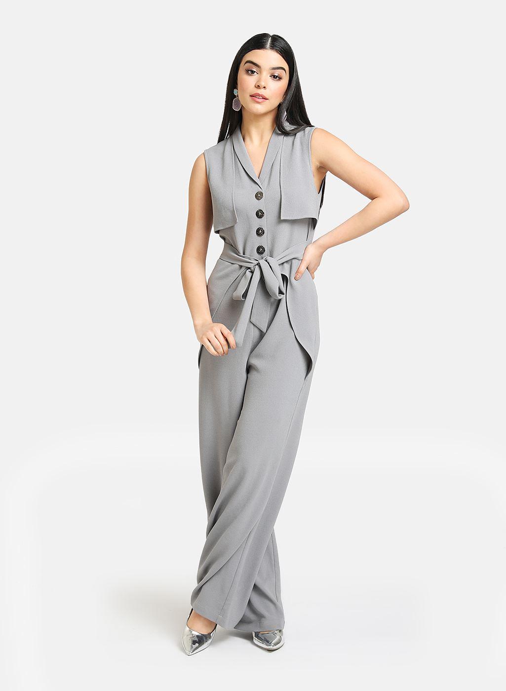 Kazo Women Casual Wear Grey Jumpsuit