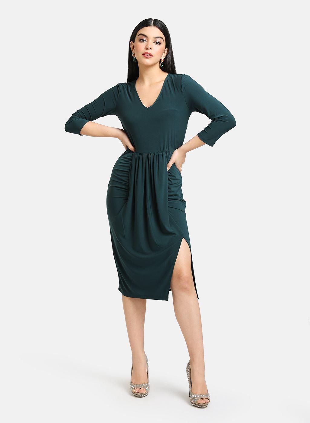 Kazo Women Party Wear Green Bodycon Dress