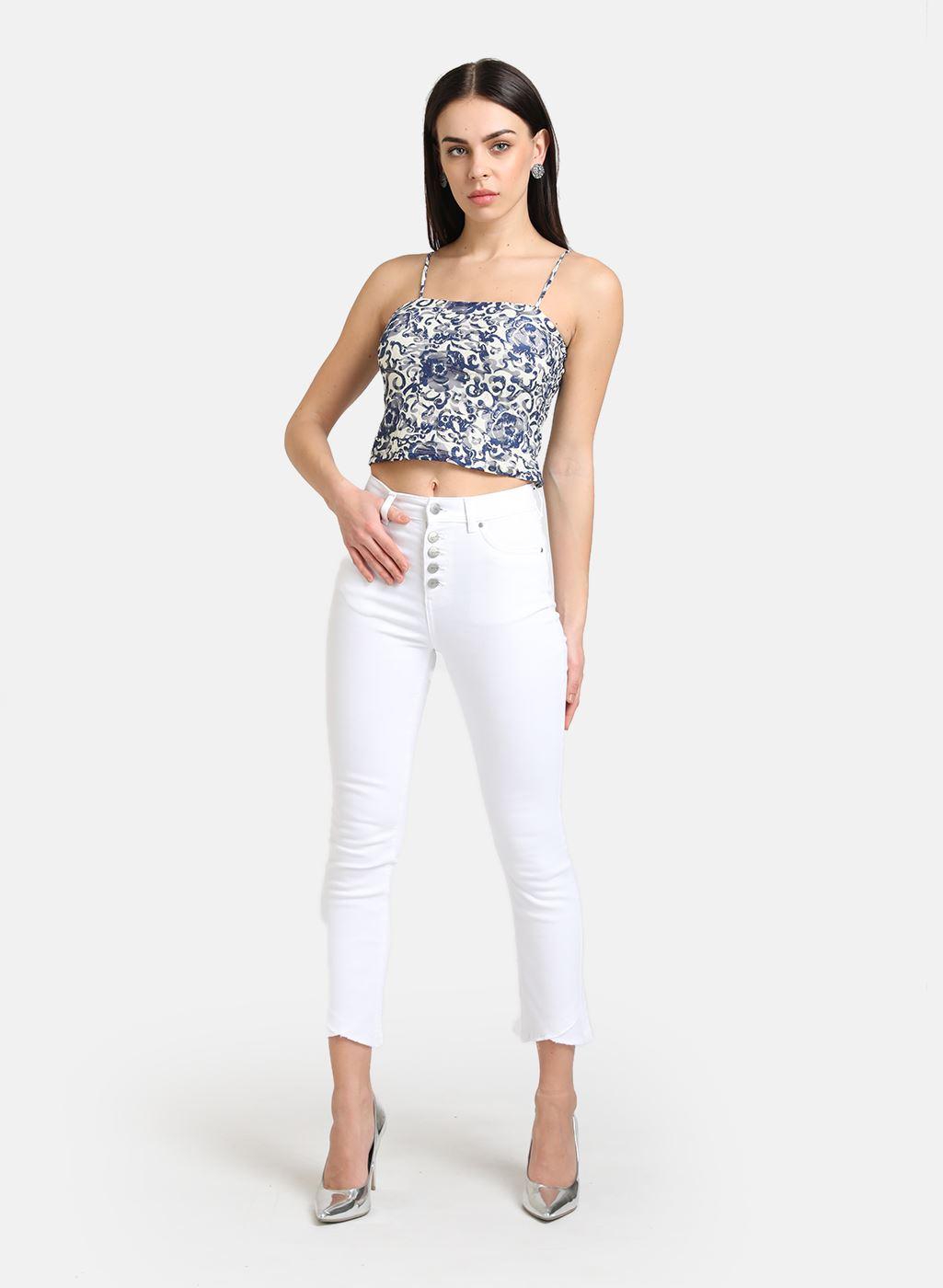 Kazo Women Casual Wear White Casual Jeans
