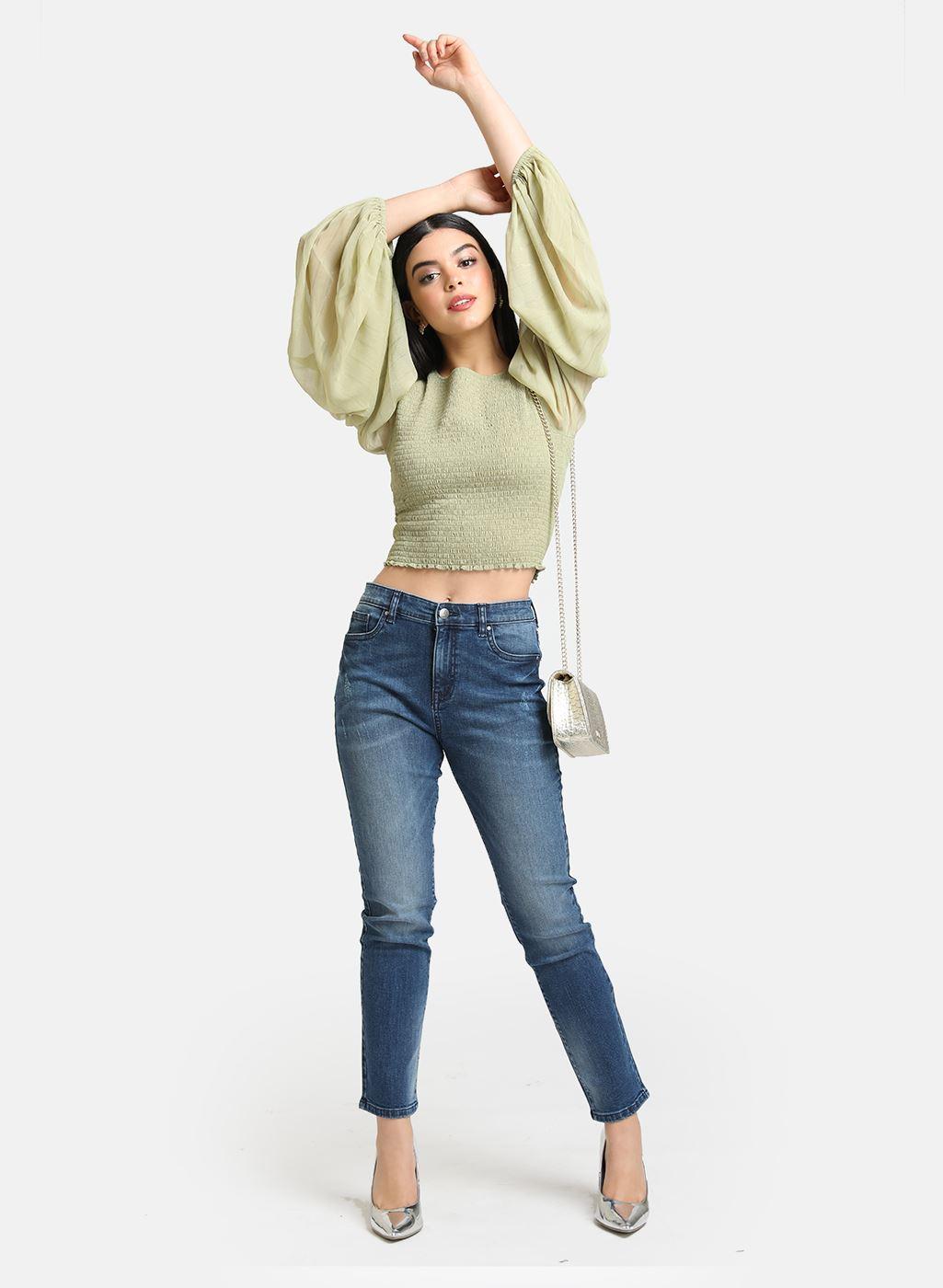 Kazo Women Casual Wear Blue Casual Jeans