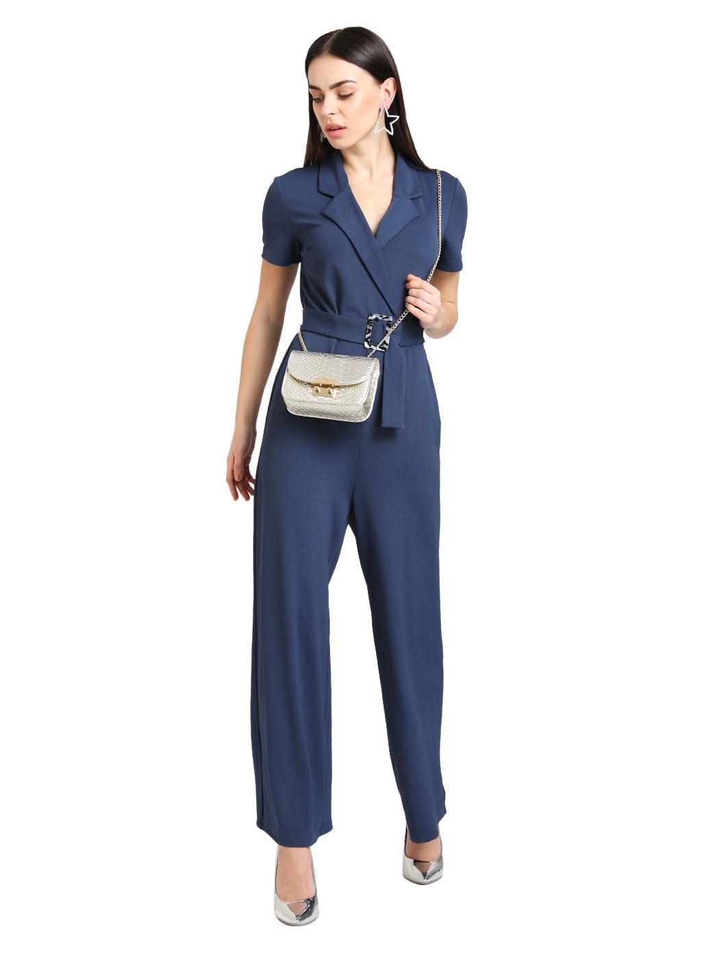 Kazo Women Casual Wear Blue Jumpsuit With Belt
