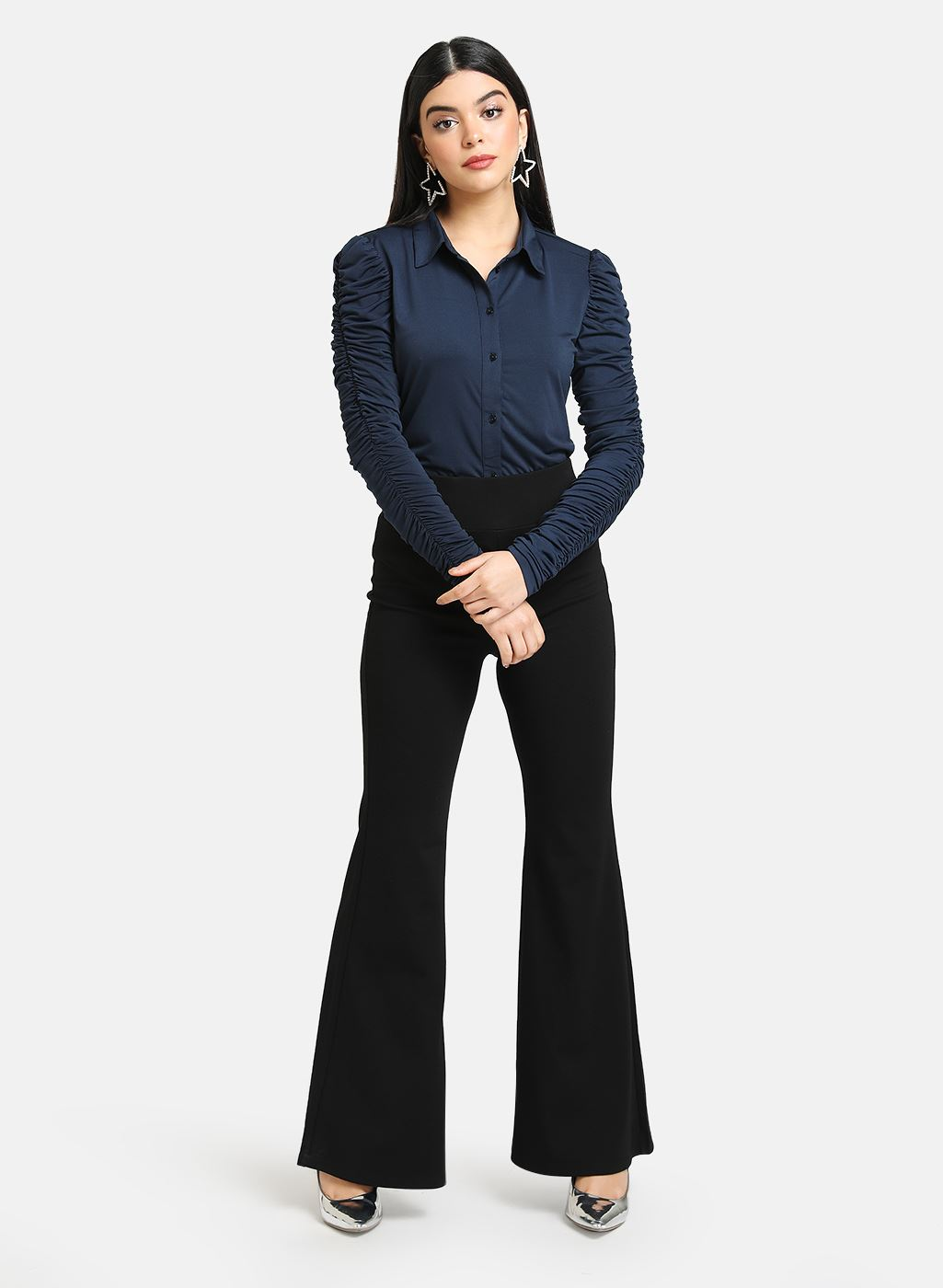 Kazo Women Casual Wear Navy Blue Shirt With Ruched Sleeves