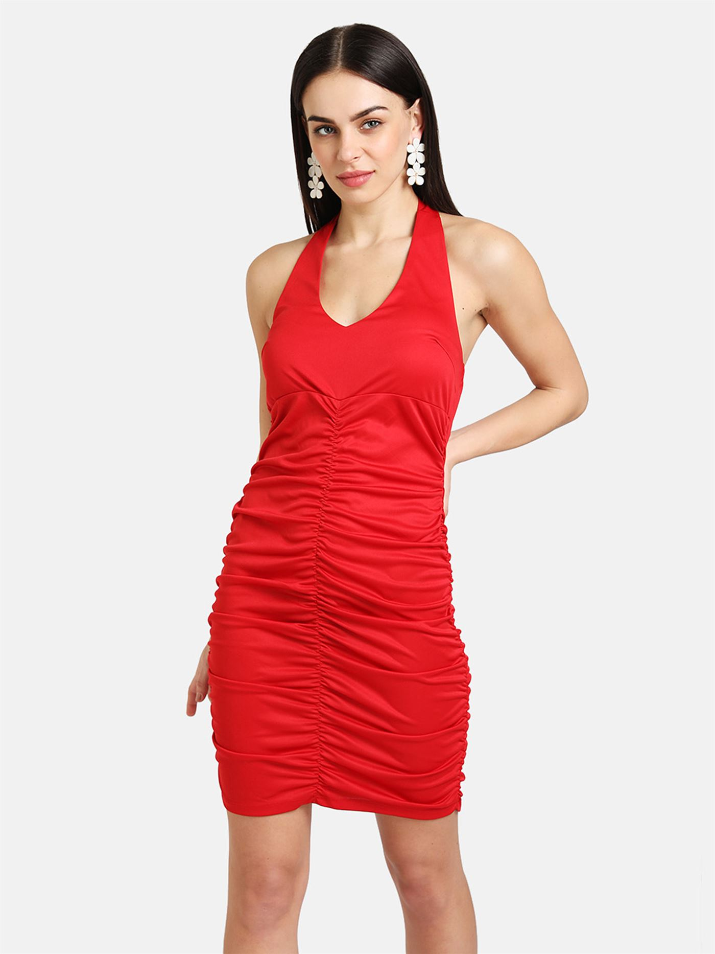 Kazo Women Party Wear Red Bodycon Ruched Dress