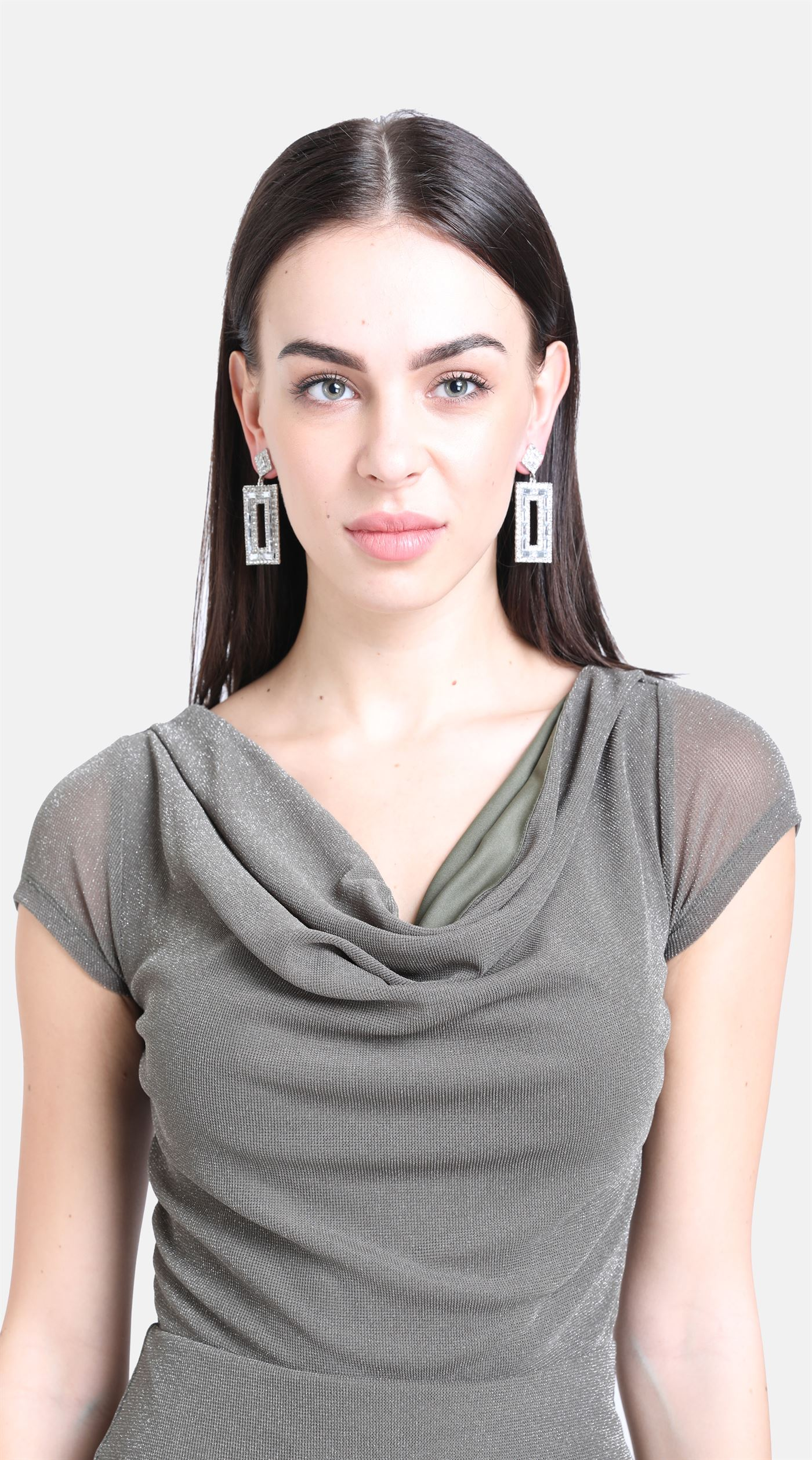 Kazo Women Party Wear Grey Sheath Dress