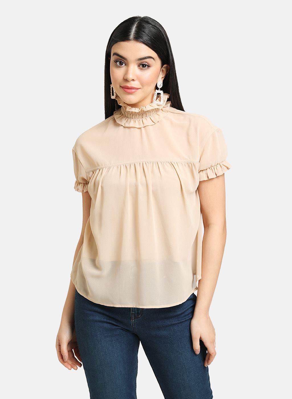Kazo Women Casual Wear Beige Casual Top