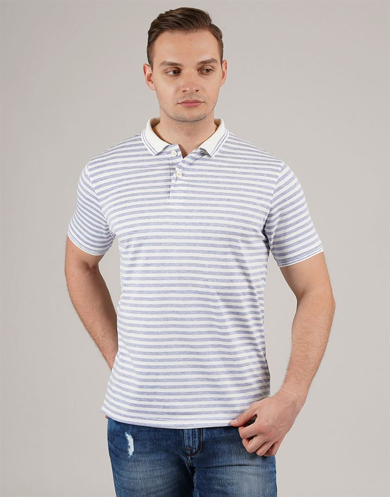 London Fog Men Casual Wear Striped Polo T-Shirt