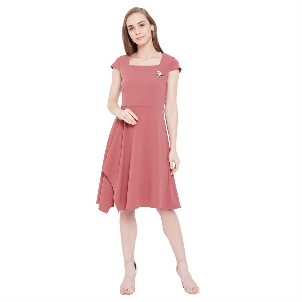 Madame Women Casual Wear Pink Fit & Flare Dress