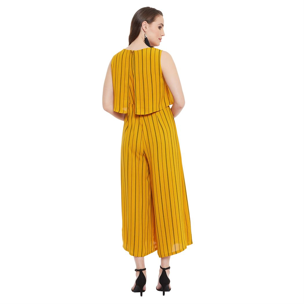 Madame Women Casual Wear Yellow Jump Suit